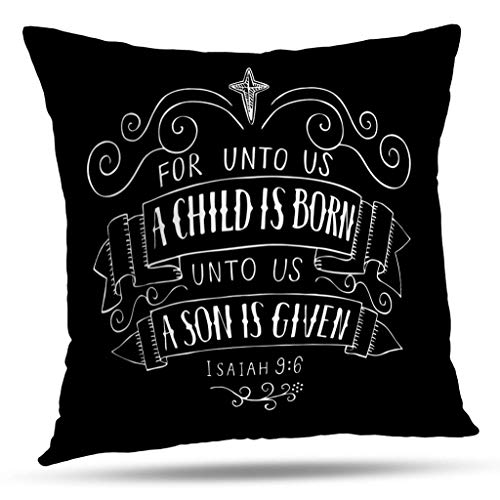 Pakaku Decorative Throw Pillow Covers Christmas Lettering Child Poster Greeting Card Card Scripture Christmas Lettering Pillowcase Cushion for Couch Sofa Bed Polyester 16