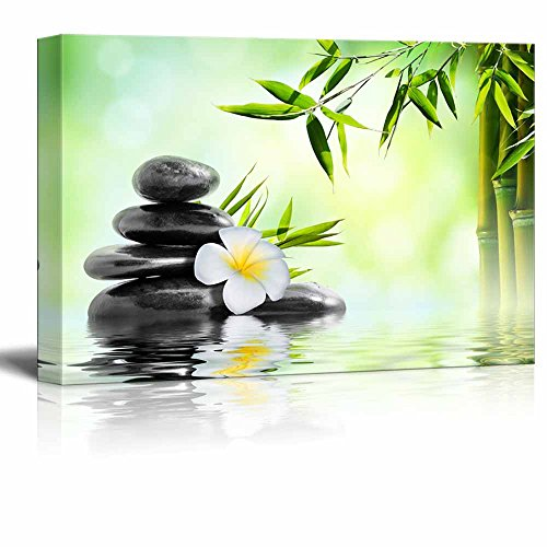 Basalt Stones Stacked on Water with Bamboo Wall Decor ation