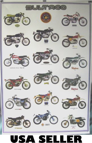 Bultaco motorcycle history POSTER 23.5 x 34 with 17 motorcycles Spanish Cemoto defunct maker (poster sent from USA in PVC pipe)