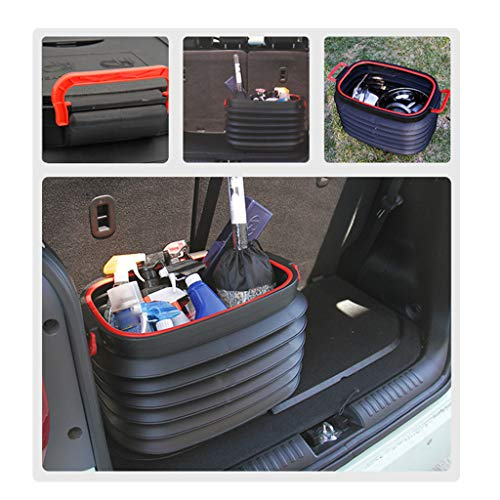 Matoen Outdoor Folding Collapsible Car Trunk Storage Bucket with Lid Fishing Travel Camp Telescopic Organizer Barrel 37L (Black)]()