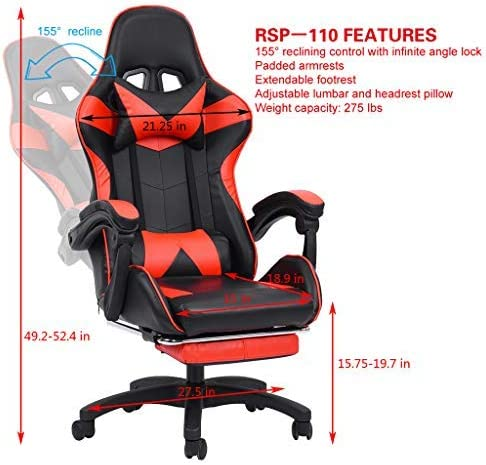 Aiwish Gaming Chair Racing Office Computer Game Chair E-Sports Chair Ergonomic Backrest and Seat Height Adjustment Recliner Swivel Rocker High-Back PC Computer Chair with Headrest and Lumbar Pillow 51YfN19pluL