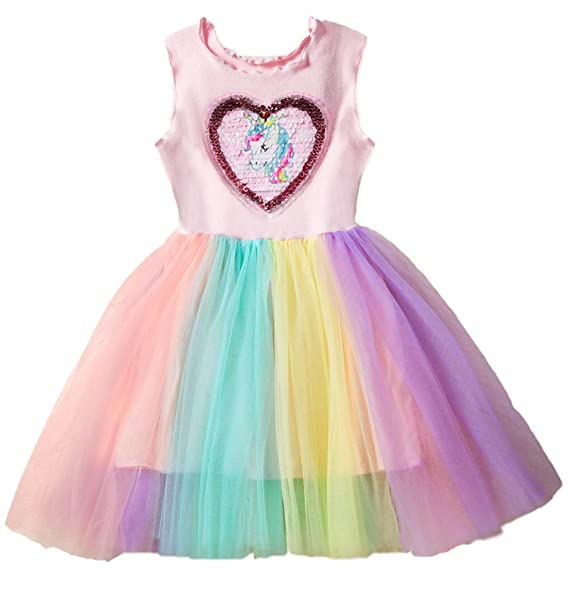 28bb4ffc9e8 Girls Dress Unicorn Rainbow Tulle Sequin Love Mesh Party Wedding Princess  Sleeveless Bithday Tutu Dress
