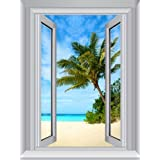 JP London AMD7A012 4-Feet by 3-Feet Removable Beach Sand Large Window Wall Mural