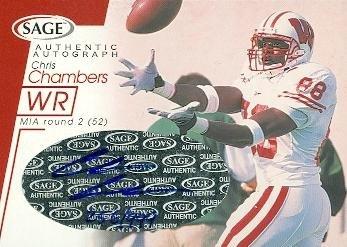 2001 Wisconsin Football - Autograph Warehouse 62229 Chris Chambers Autographed Football Card Wisconsin 2001 Sage Rookie No. A11
