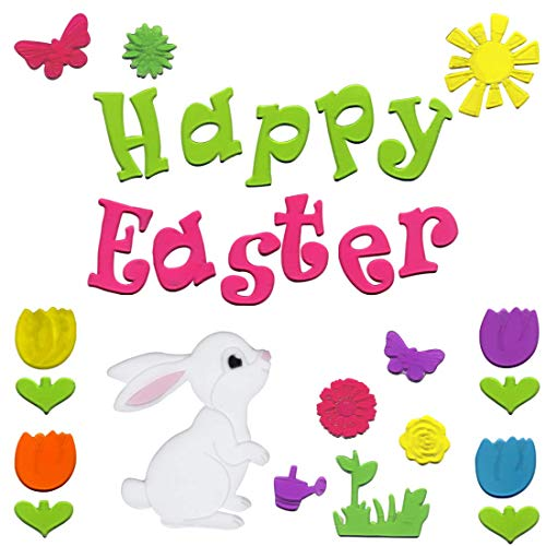 Easter Window Clinks two Bunnies with 10 Easter Eggs, Butterfly and Flowers Gel Charms (Charm Butterfly Easter)
