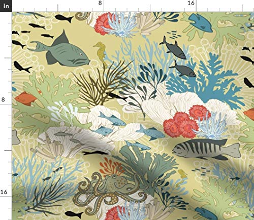(Ocean Life Fabric - Coral Reef Straw Yellow Sea Animals Home Decor Fish Octopus Fernleslie Beach Print on Fabric by the Yard - Basketweave Cotton Canvas for Upholstery Home Decor Bottomweight Apparel)