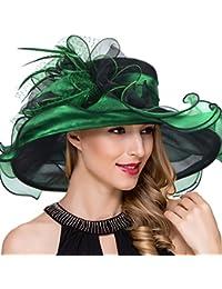 Women Kentucky Derby Church Dress Fascinator Wide Brim Tea Party Wedding Hats S042b