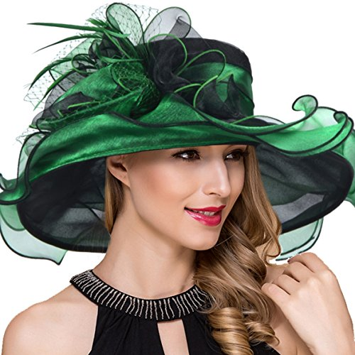 Ruphedy Women Kentucky Derby Church Dress Fascinator Wide Brim Tea Party Wedding Organza Hats S042b (Green) (Kentucky Flower State)