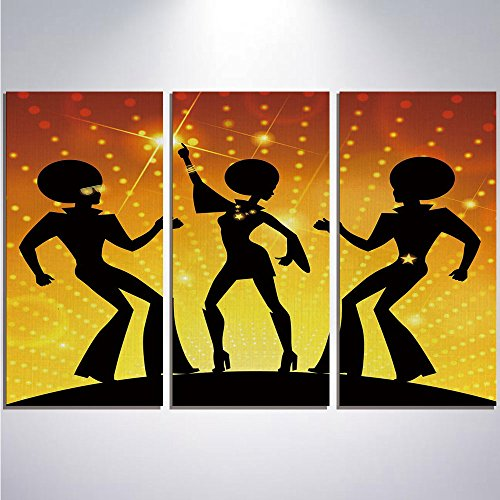 3 Pieces Modern Painting Canvas Prints Wall Art For Home Decoration 70s Party Decorations Print On Canvas Giclee Artwork For Wall DecorDancing People Disco Night Club Afro Hairs Gold Colored Bokeh Dec