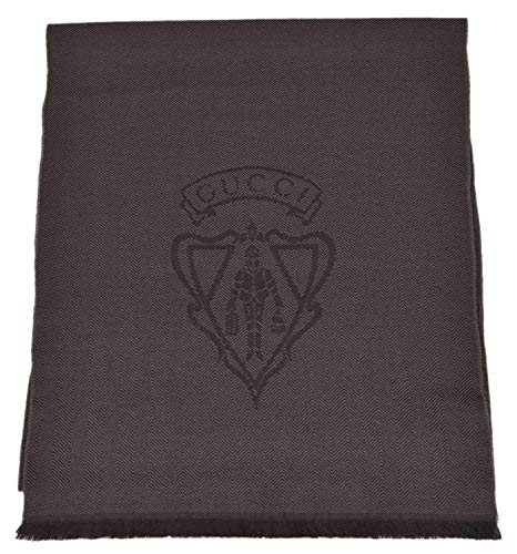 Gucci Men's 344993 Wool Hysteria Crest Logo Scarf Muffler (Dark Loden Brown)