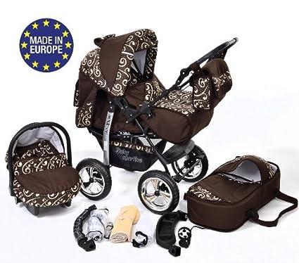 Kamil - Sistema de viaje 3 en 1, silla de paseo, carrito con capazo y silla de coche, RUEDAS ESTÁTICAS y accesorios (Sistema de viaje 3 en 1, marrón, ...