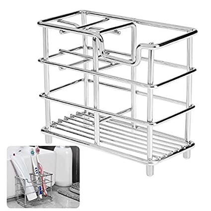 Organizer Bathroom - Stainless Steel Toothbrush Holder Toothpaste Razor Stand Comb Household Organizer Bathroom Products - Over Drawer Toilet Cupboard Counter Two Countertop Caddydryer Men Mason