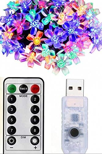 Remote Timer USB Operated Flower Starry Fairy String Lights 33 Feet 100LED Blossom Decorative Light for Garden, Patio, Christmas Tree, Party, Bedroom, Indoor and Outdoor Decorations Multi-Color