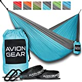 Avion Gear Hammock | Portable and lightweight perfect for Camping | Complete Kit: 2 Hammock Tree Straps 2 Hammock Carabiners and a Double Nylon Parachute Hammock | Outdoor Portable Hammock by (Grey)