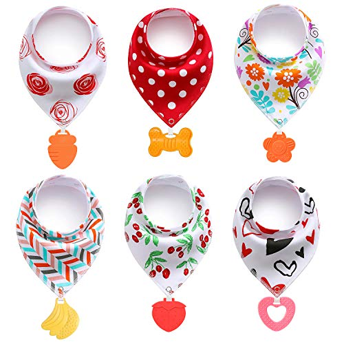 PandaEar Baby Bandana Drool Bibs 6-Pack with Teething Toys, Super Absorbent, 100% Organic Cotton, Neutral Color for Girls (Assorted Girl)