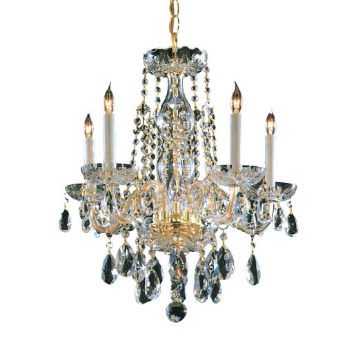 Crystorama Lighting 1061-PB-CL-SAQ Chandelier with Swarovski Spectra Crystals, Polished Brass