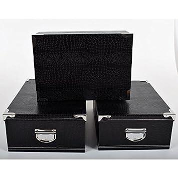 Box - Juego de cajas de cartón para almacenaje (- negro - grandes tamaños: Amazon.es: Hogar