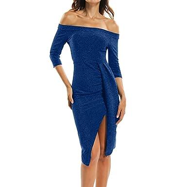 SUCES Mode Frauen Kalte Schulter Halbe Hülse Sexy Kleid Abendkleid ...