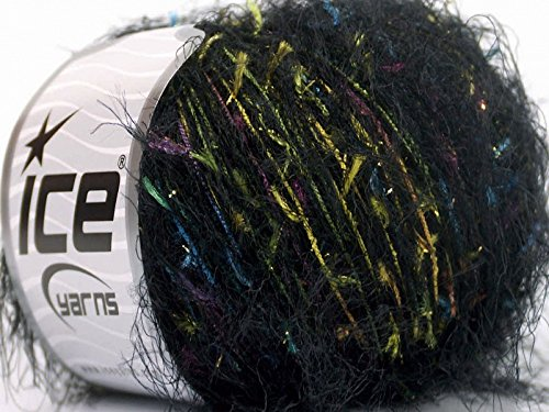 Fireworks Eyelash Blend Yarn Black with Pastels and a Hint of Metallic Sparkle 50 Gram