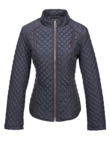 Jacket Collar Quilted - Bellivera Women's Stand Collar Lightweight Gilet Quilted Puffer Padded Zip Jacket for Spring and Autumn