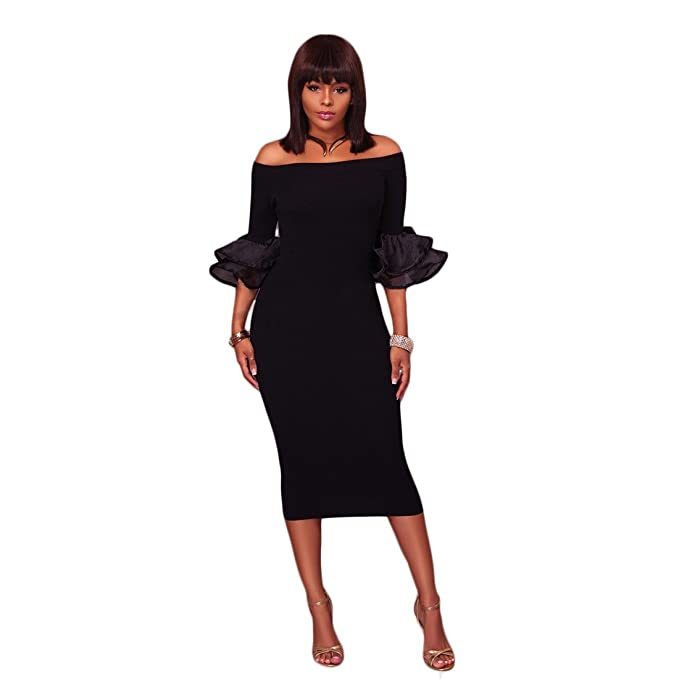 917bb22afb9bb Womens Spring Autumn Sexy Off Shoulder Short Sleeve Half Sleeve Mesh Solid Bodycon  Party Club Midi Dress Black S at Amazon Women's Clothing store: