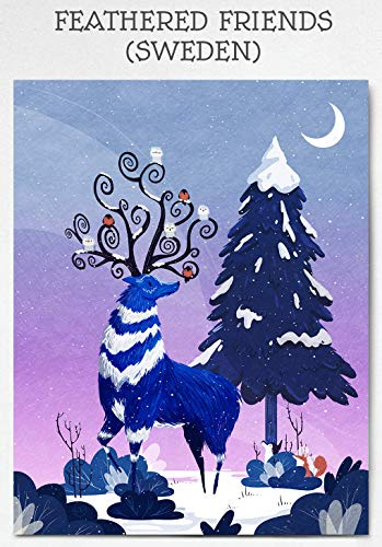 Woodland Print Whimsical Winter Aurora Mountain Print Landscape Illustration Sweden Snow Cute Poster Animal Poster Nature Home Decor Wall Art Illustrated Print Cool Art Unframed 18 x 24 Inches