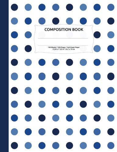 Download Shades of Blue Polka Dot Composition Notebook, Graph Paper: 4x4 Quad Rule Grid Student Exercise Book for Math & Science pdf epub