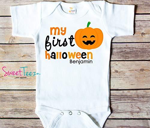 Personalized First Halloween Baby Bodysuit Pumpkin My 1st Halloween -