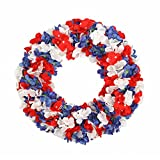 FAVOWREATH 2018 National Flag Series FAVO-W35 Handmade 14 inch American Flag Silk Red,White,Blue Hydrangea Grapevine Wreath For Festival Celebration Front Door/Wall/Fireplace Floral Hanger Home Decor