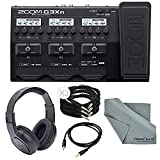 Zoom G3Xn Multi-Effects Processor with Expression Pedal for Guitar Deluxe Bundle with 3 1/4 Inch Cables + Aux Cable+ Samson Stereo Headphones + Fibertique Cleaning Cloth