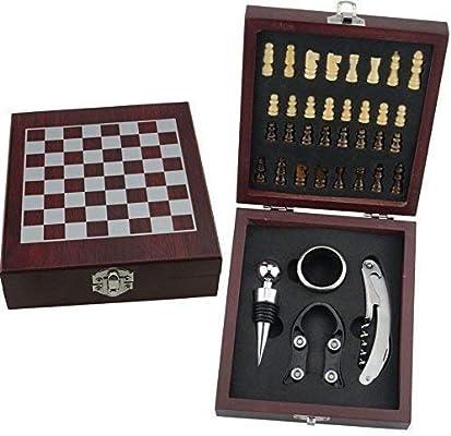 RTA Vintage Madera Ajedrez Juego de Mesa con Vino Set de Regalo 36 Pieces (Sacacorchos, Vino Tope, Vino Cuello & Aluminio Cortador): Amazon.es: Juguetes y juegos