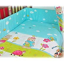 "BlueberryShop 2 pcs BABY COT BED BUNDLE BEDDING SET DUVET+PILLOW COVERS matching cot bed 120 x 150 cm (47"" x 59"") ( 0-7Yrs ) ( 150 x 120 cm ) Blue Teddy"