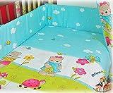 BlueberryShop 2 pcs BABY COT BED BUNDLE BEDDING SET DUVET+PILLOW COVERS matching cot bed 120 x 150 cm (47'' x 59'') ( 0-7Yrs ) ( 150 x 120 cm ) Blue Teddy