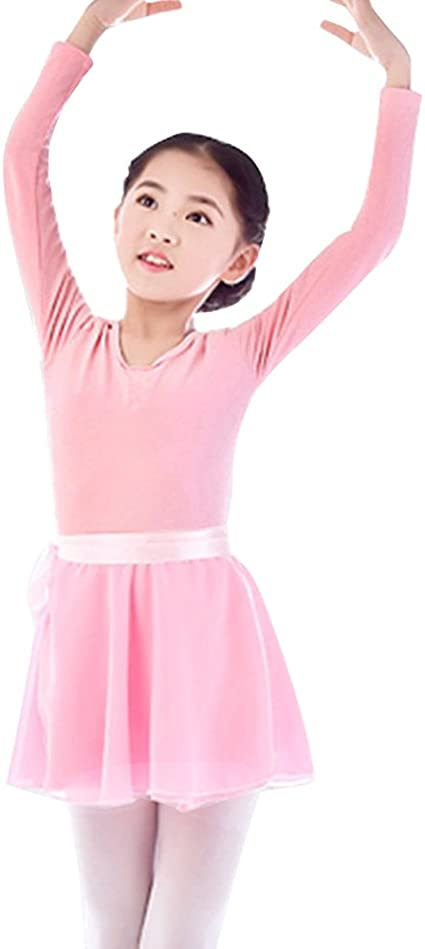 Girls Kids Ballet Dance Leotard Dress Long Sleeve Gymnastics Tutu Skirt Costume