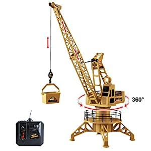 RC Wired Tower Crane Construction Vehicle Playset with Up Down Lift Control and 360 Degree Rotation