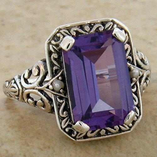 (Color Change LAB Alexandrite Antique Victorian Design 925 Silver Ring SZ 5 KN-3333)