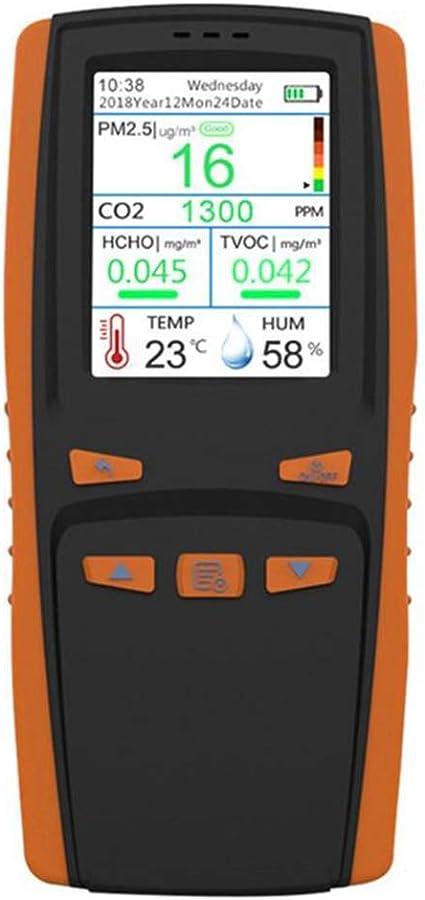 HCHO hidr/ómetro PM2.5 // PM10 // PM1.0 // tvoc con pantalla LCD Medidor de calidad de aire temperatura y humedad del aire detector digital