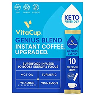 VitaCup Genius Coffee Instant Stick Hot or Cold Brew for Energy & Focus w/ KETO MCT Oil, Turmeric, Cinnamon & Vitamin B Complex D in 10 ct. single serve packets