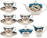 Gracie China by Coastline Imports 11-Piece Fine Porcelain Tea Set, Blue Finch with Peacock Blue Border