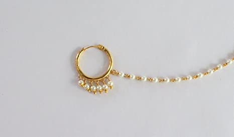 302b9eeacc8 Bridal Gold Small Wedding Nose Ring Chain Hoop/Indian Bridal Nose Nath  Hoop/Delicate Pierced Nose Ring/Left Nose Hoop/Bollywood Septum Hoop