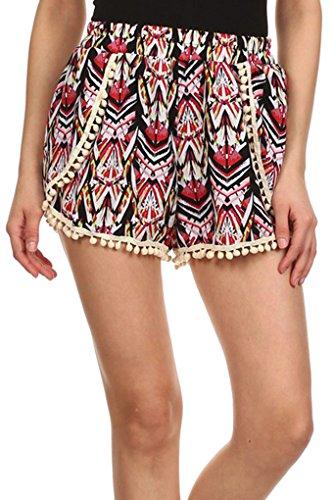 Simplicity® Women Pompom Tassel Trim Mini Shorts Pants, MultiColor Print #005 L
