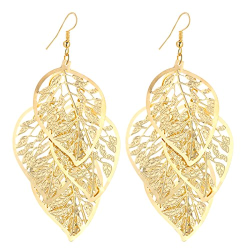 IDB Delicate Filigree Dangle Multiple Hollow Leaves Drop Hook Earrings - available in silver and gold tones (Gold tone) - Gold Filigree Circle Earrings