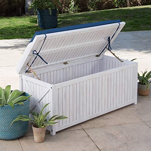 Nautical Weathered White Finish Eucalyptus Wood Patio Storage Deck Box for Cushions Pool Outdoor Items Bench Seating Includes Cushion