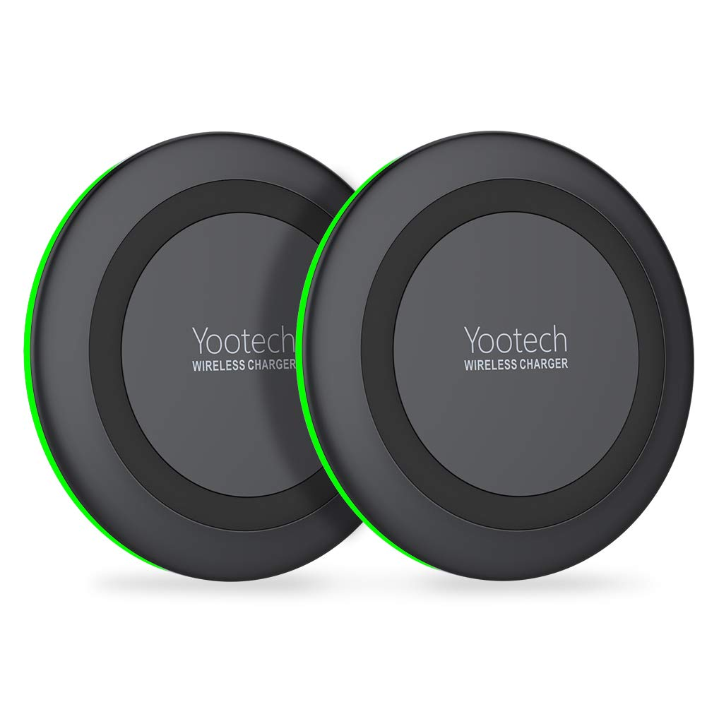 Yootech [2 Pack] Wireless Charger Qi-Certified 7.5W Wireless Charging Compatible with iPhone Xs MAX/XR/XS/X/8Plus,10W for Galaxy Galaxy S10/S10 Plus/S10E/S9,5W All Qi-Enabled Phones (No AC Adapter)