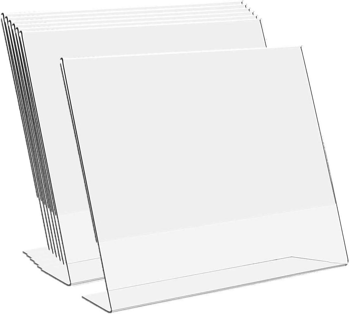 """1InTheOffice Slanted Sign Holder 8.5 x 11""""6 Pack"""" (Slanted Horizontal)"""