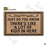 MsMr Doormat Entrance Floor Mat Funny Doormat Indoor/Outdoor/Kitchen Decorative Doormat Non-slip and Non-woven Fabric 30''x18'' - Just So You Know There's Like A Lot Of Kids In Here