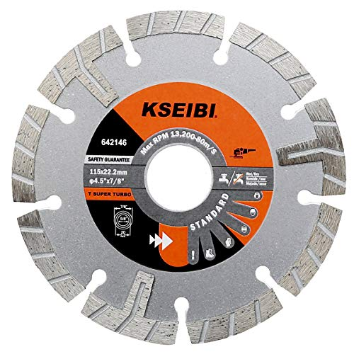 Kseibi 642146 Premium Wet Diamond Saw Blade 4 1/2 Inch Turbo Rim T Type Tile Cutting Tools For Concrete Masonry Granite Porcelain Stone Ceramic Brick Cutting Wheels For Angle Grinder - Cutting Dry Blade