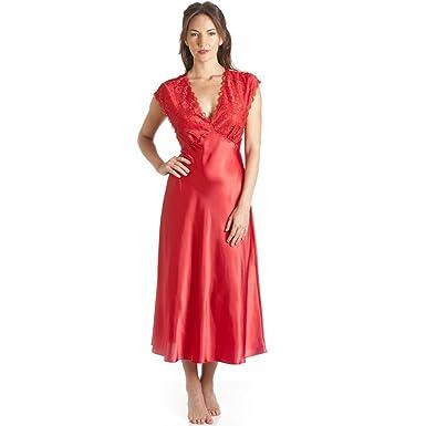 9cae841f085280 Camille - Damen Nachthemd - Luxuriös mit Spitze - Rot 38/40: Camille ...