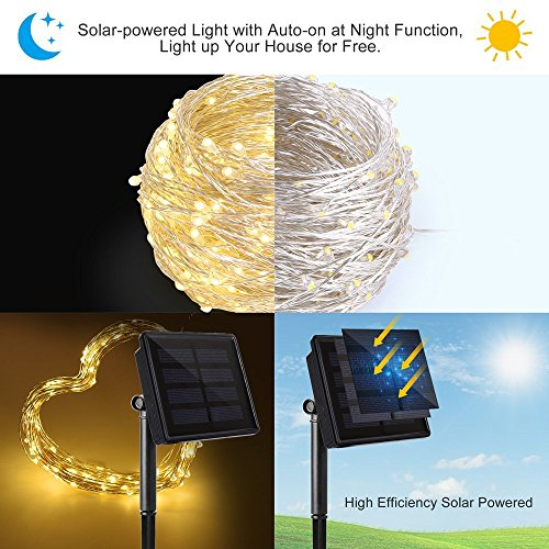Solar String Lights Ankway 200 Led Fairy Lights 8 Modes 3 Strands Copper Wire 72 Ft Waterproof