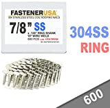 """7/8"""" Ring 304 Stainless Coil Roofing Nails 600ct"""